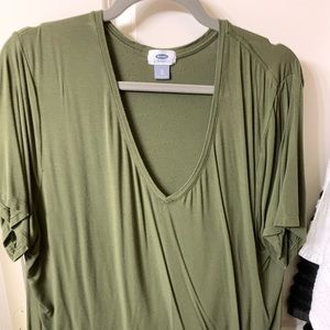 Slouchy Green V-Neck from Old navy
